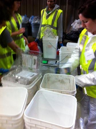 Volunteers sorting Restaurant Waste